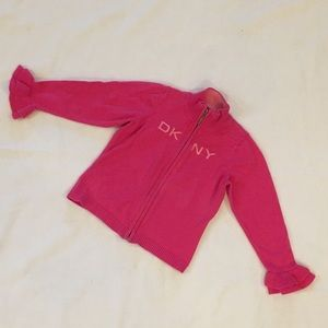DKNY Girls Pink Zip Up Sweater Size 3T